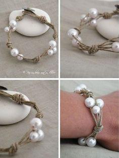 Bracelet lin & perles: