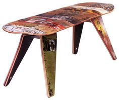 "Deckbench - Recycled Skateboard Bench, 48"" Deckbench - Two Seater - contemporary - benches - by Deckstool - Recycled Skateboard Furniture"