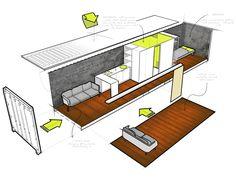 Architectural sketches for abitative container - for L'Officiel Paris Magazine - designer: Kurt G. Stapelfeldt - sketches: Luca Toscano Otto
