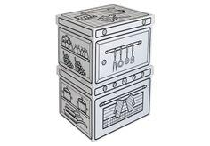 """Villa Carton Storage Boxen Küche ● Schöne, große Aufbewahrungsboxen für kleine und große """"Schätze"""". ● Deckel und Boden einzeln. ● Mit vorgedruckten schwarzen Konturen. ● Das vorgedruckte Motiv erleichtert besonders kleineren Kindern das Ausmalen. ● Aufgestelltes Format: je 45 x 29 x 35 cm (BHT) ● #Wellpappe, #Karton, #Kreativ, #Spielen, #joyPac®, #Dinkhauser Kartonagen"""