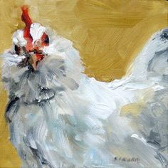 "Print from Original Impasto Oil Painting, ""La Gallina"" - White Chicken 8 x 8 Chicken Painting, Chicken Art, White Chicken, Rooster Art, Square Art, Galo, Bird Prints, Animal Paintings, Bird Art"
