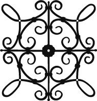 square faux wrought iron insert pattern