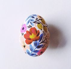Floral painted Easter egg