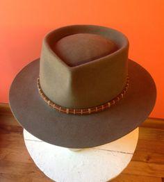f37da2fbe0b HAT - Mens Granite Grey 100% Beaver Fur Felt Pinched Pork Pie with Custom  Hatband