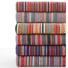 Organic Cotton Ethnic Stripe Fabric by the Yard for Sofa Curtain Bag    Width: 145cm    Weight: 380g/yard Material: Polyester Cotton