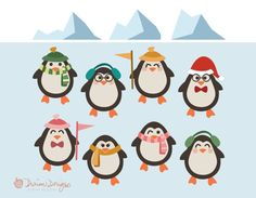 Winter Penguins Clip Art commercial use, Christmas snow scarves and hats clipart, artic animals, holiday, birthday instant download  With this download, separate/individual image files are in PNG (transparent) format and JPG (white background) format. The penguins are about 3.5x5 inches. The main previews (with all images compiled) are for demonstration purposes only. Note: You are purchasing digital files only. Nothing will be mailed to you. The downloadable zip file contains:  11 JPG i...