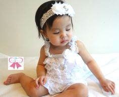 2pcs baby Romper, Pure White Lace Petti Romper set, baptism, flower girl, baby girls outfit, Baby outfit, Birthday, wedding on Etsy, $29.99
