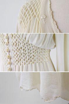 vintage wedding dress // Antique White Silk Chiffon Wedding Dress Robe with Floral Embroidery Smocking Tutorial, Smocking Patterns, Sewing Patterns, Fashion Sewing, Fashion Fabric, Sewing Clothes, Diy Clothes, Textile Manipulation, Punto Smok