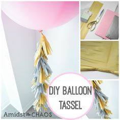 DIY Balloon Tassels - Amidst the Chaos - Balloon Tassel DIY can use tissue paper or plastic table cloths. Tassle Balloons, Jumbo Balloons, Large Balloons, Balloon With Tassels, Diy Party Decorations, Balloon Decorations, Balloon Ideas, House Decorations, Diy Interior