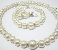 Pearl Bridesmaid Jewelry Sets pearl necklace by SLDesignsHBJ