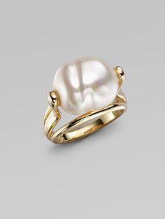 Majorica - White Baroque Pearl Ring