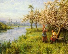 Country Women after Fishing on a Summer's Day by Louis Aston Knight, Oil on…