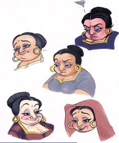 Aladdin  Some concept for Aladdin's mother, who was eventually scrapped from the film. I especially like the top drawing… she is not amused! (Aladdin was probably up to some of his antics. Oh, Aladdin.)  Art from the special edition Aladdin DVD