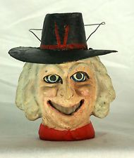 Antique German Paper Mache Halloween Witch Head Lantern  c1915  WOW....$1800.00, she would be worth every penny!!