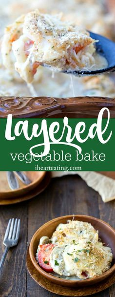 Layered Vegetable Bake Recipe - easy vegetarian dinner that's like a noodle-free veggie lasagna. Vegan Recipes Videos, Easy Baking Recipes, Vegan Dessert Recipes, Good Healthy Recipes, Veggie Recipes, Beef Recipes, Vegetarian Recipes, Healthy Food, Dinner Recipes
