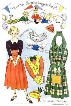 NOW TO BOARDING SCHOOL Story Parade September 1949 Hilda Miloche  paper dolls