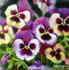 """Pansies"" - Original Fine Art for Sale - © Elena Katsyura"