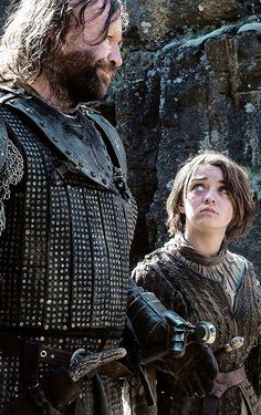 "Knight: ""Who would pass the Bloody Gate?"" Clegane: ""The bloody Hound, Sandor Clegane and his... traveling companion Arya Stark, niece of your lady Lysa Arryn."" Knight: ""Then I offer my condolences. Lady Arryn died three days ago."""