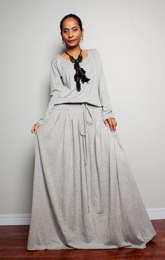 plus size maxi long sleeve dress