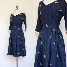 A deep midnight blue late 1940s dress with a cascade of ivory butterflies. ERA: late 1940s LABEL: R&K Originals MATERIAL: silk TAG SIZE: none FITS LIKE: XS-S  ABOUT R&K ORIGINALS: The brand was founded in NYC (on Broadway!) in 1932 by the R & K Dress Corporation of New York, aiming to create pieces for the girl who knows clothes. The brand has refocused on mature fashions and still exists today. MEASUREMENTS: Length: 40 Bust: 36 Waist: 26 Hips: free (Note: measured lying flat and ...