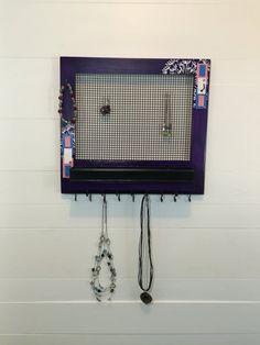 Deep purple frame jewelry holder, organizer, jewelry box, necklace hooks by JewelryMaxByRiley on Etsy Jewelry Holder, Jewelry Box, Unique Jewelry, Deep Purple, Hooks, Trending Outfits, Frame, Handmade Gifts, Etsy