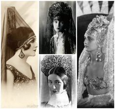 Spanish mantilla in glamour postcards