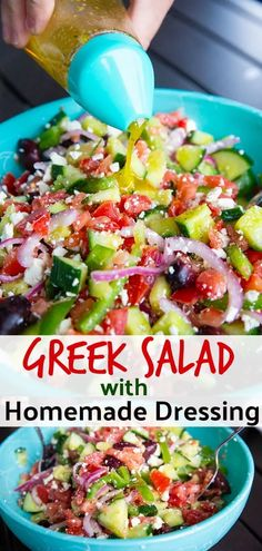 is nothing like a classic Greek Salad with Homemade Greek Salad Dressing. - Salat Rezepte -There is nothing like a classic Greek Salad with Homemade Greek Salad Dressing. Greek Salad Recipes, Salad Dressing Recipes, Healthy Salad Recipes, Dressing For Greek Salad, Greek Cucumber Salad, Mediterranean Salad Dressing, Recipe For Greek Salad, Greek Salad Dressings, Homemade Healthy Salad Dressing