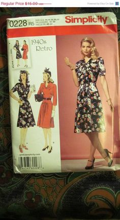 Sale Uncut Simplicity Sewing Pattern 0228 by EarthToMarrs on Etsy, $12.00