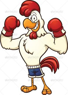 Boxing Chicken Clip art of a boxing chicken. Vector cartoon illustration with simple gradients. All in a single layer. Created: 11 December 13 Graphics Files Included: Vector EPS Layered: No Minimum Adobe CS Version: CS Tags boxer Cartoon Cartoon, Turkey Cartoon, Cartoon Rooster, Cartoon Chicken, Cartoon Characters, Chicken Tattoo, Chicken Art, Chicken Illustration, Illustration Art