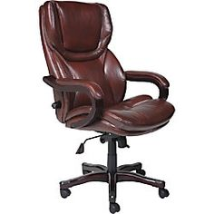 serta executive big tall office chair eco conscious bonded leather brown by office depot u0026 officemax