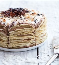 Coconut Cream Crepe Cake with Chocolate Mousse and Rum