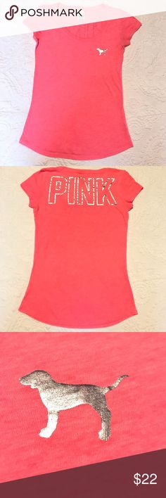 PINK!!! Like new PINK scoop neck t-shirt! PINK scoop neck t-shirt in good condition! Trendy, comfy & cute!! PINK Tops Tees - Short Sleeve