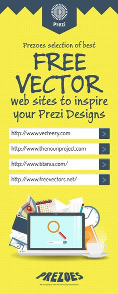 We have been asked many times about where we get some vectors we use​. So check this for some awesome free vector sites. Use them well! #prezi #tip #design #creative #prezoes #vector #website