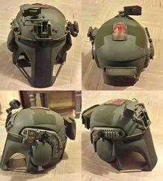 Ballistic body armor manufacturer Armor has teamed up with artist Ryan B. Flowers to design Mandalorian themed body armor. Tactical Helmet, Airsoft Helmet, Paintball, Oni Maske, Stormtrooper, Mandalorian Armor, Moto Cafe, Rangers, Tac Gear