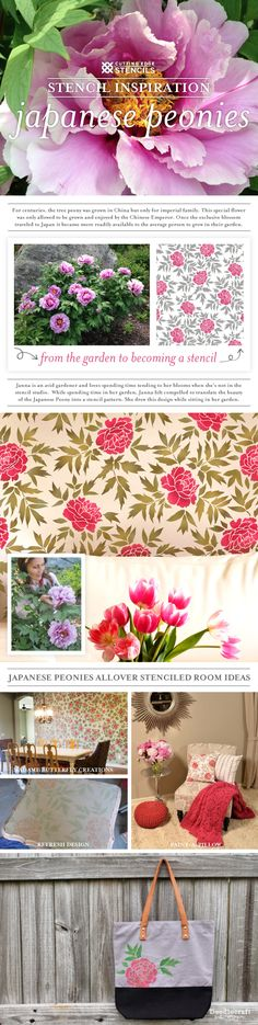 Cutting Edge Stencils shares DIY the inspiration for the Japanese Peonies Stencil and stenciled home decor ideas. http://www.cuttingedgestencils.com/japanese-peonies-floral-stencil-pattern.html