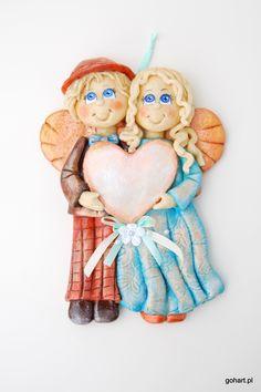 Gohart, anioł z masy solnej, anioły z masy sonej, zakochane anioły, anioły z miejscem na dedykację, anioł z dedykacją, anioł prezent ślub, anioły prezent rocznica, salt dough angels