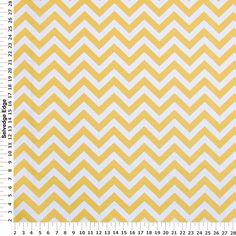 Corn Yellow Zig Zag Stripes on Cotton Fabric