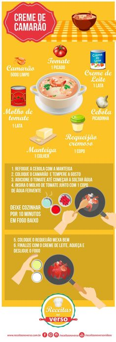 creme-de-camarão Fish Recipes, Seafood Recipes, Cooking Recipes, Portuguese Recipes, Happy Foods, Just Cooking, Food Illustrations, Creative Food, No Cook Meals