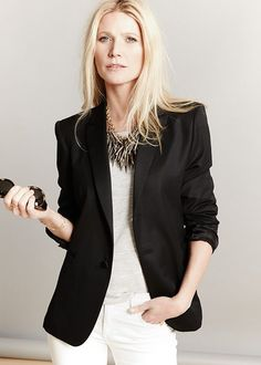 So chic!! Recreate with CAbi's City Blazer, Linen Tank, and Indie or Baby Boot Jeans in white.