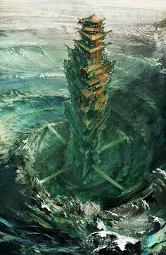 Tower Concept from Guild Wars Factions - Environment Design Fantasy City, Fantasy Castle, Fantasy Map, Fantasy Places, Fantasy World, Fantasy Artwork, Fantasy Concept Art, Fantasy Landscape, Landscape Art