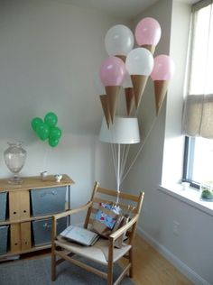 Ice Cream Balloons- I tried to make these, but the construction paper was too heavy and caused the balloons to sink.