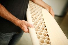 CNC-Milled, Honeycomb-Filled Wooden Surfboard