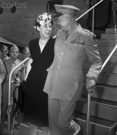 Original caption: The first person to welcome General Dwight D. Eisenhower on his return to the United States was his wife. They are shown embracing just after the general climbed down from President Truman's special plane, which brought him back from Europe.