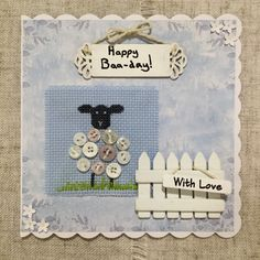 Cross stitch card / hand stitched card / birthday card / handmade card / lamb cross stitch by BunnybearDesignsUK on Etsy