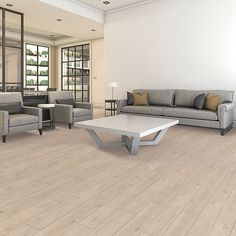 Modern Oak natural authentic laminate floor. Beige oak wood finish, 9mm 1-strip laminate flooring, easy to install and covered by PERGO's lifetime warranty.