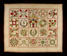 Baltimore Album Memorial Quilt U.S., c. 1848, Appliquéd and embroidered cotton with ink 82 x 108 in.| LACMA Collections