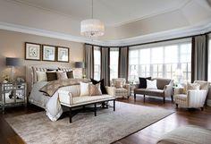 Bedroom Ideas. Tailored Bedroom Design with elegant furniture and decor. #Bedroom #TailoredBedroom #TailoredDesign #BedroomIdeas #BedroomFurniture #BedroomColorPalette Designed by Jane Lockhart.