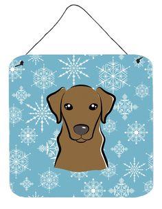Snowflake Chocolate Labrador Wall or Door Hanging Prints BB1668DS66