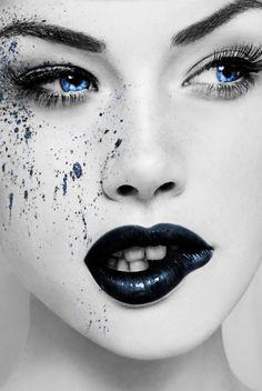black and white lip biting Color Splash, Color Pop, Paint Splash, Lip Biting, Splash Photography, Whimsical Photography, Beauty Photography, Fashion Photography, Foto Fashion