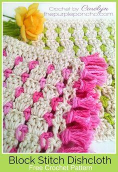 Block Stitch Dishcloth A Free Crochet Pattern on The Purple Poncho #crochet #video #blockstitch #crochetdishcloth #thepurpleponcho
